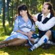 Woman and man in scottish costume — Stock Photo #7178941