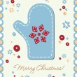 Royalty-Free Stock Vector Image: Vintage holiday patchwork card