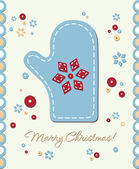 Vintage holiday patchwork card — Stock Vector