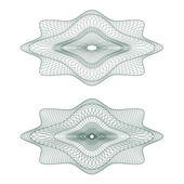 Set of vector oval guilloche rosettes — Stock Vector