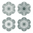 Set of vector guilloche rosettes — ストックベクタ