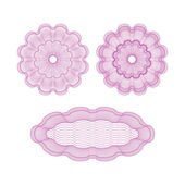 Set of pink vector guilloche rosettes — Stock Vector
