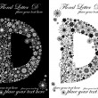 Two black and white letters of vintage floral alphabet, D - Image vectorielle