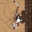 Vector saxophone and musical person, jazz background for text - Stock Vector