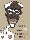 Vector african senior man, family portrait background, grunge — Stock Vector