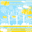 Vector winter landscape with trees, clouds, snowflakes, sun — Stock Vector