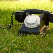 Retro styled rotary telephone in the grass — Stock Photo