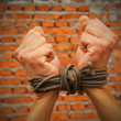 Stock Photo: Hands tied up with rope against brick wall