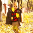 Boy playing with leaves at fall time — Stock Photo