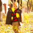 Boy playing with leaves at fall time — Stock Photo #7351008