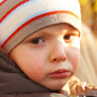 Little boy crying outdoors — Stock Photo