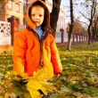 Boy playing with leaves at fall time — Stock Photo #7375738