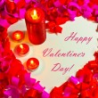 St. Valentine's day greeting background with four burning candles — Stock Photo