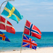 Nation flags,Hua Hin beach Thailand — Stock Photo