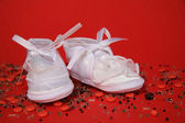 White shoes of a small child — Stock Photo