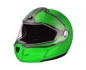 白い背景で隔離の緑の光沢のあるオートバイのヘルメット — ストック写真