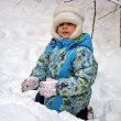 Little girl on the snow — Stock Photo