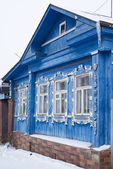 BLUE RURAL HOUSE IN WINTER — Foto de Stock
