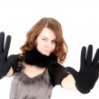 Pretty woman showing stop gesture — Stock Photo #6791033