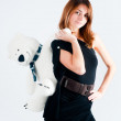 Pretty woman with white bear — Stock Photo