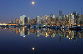 Vancouver downtown, lunar night — Stock Photo