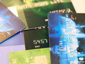 Credit cards financial background — Stock Photo