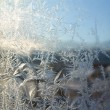 Stock Photo: White crystals ice on winter window