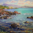 Stock Photo: Watercolor painting of Cote d'Azur, France
