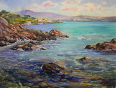 Watercolor painting of the Cote d'Azur, France — Stock Photo