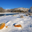 Winter landscape with welloy stones and river in mountains — Stock Photo