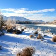 Stock Photo: Winter landscape with snow trees and river in mountains