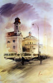 Watercolor painting of the cityscape — Stock Photo
