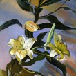 Beautiful Original Oil Painting On Canvas White lily on blue background — Stock Photo