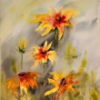 Stock Photo: Watercolor painting of the beautiful flowers.
