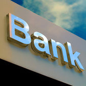 Bank office sign — Stock Photo