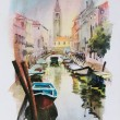 A view of the canal with boats and buildings in Venice — Stock Photo #7883696