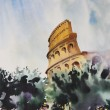 The Roman Coliseum cityscape painted by watercolor. — Stock Photo #7883719