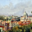 Roman cityscape overlooking the Cathedral of St. Peter and the Vatican — Stock Photo #7883722