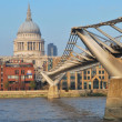 Millennium bridge and st pauls — Stock Photo