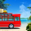 Foto Stock: Red bus adventure on beach