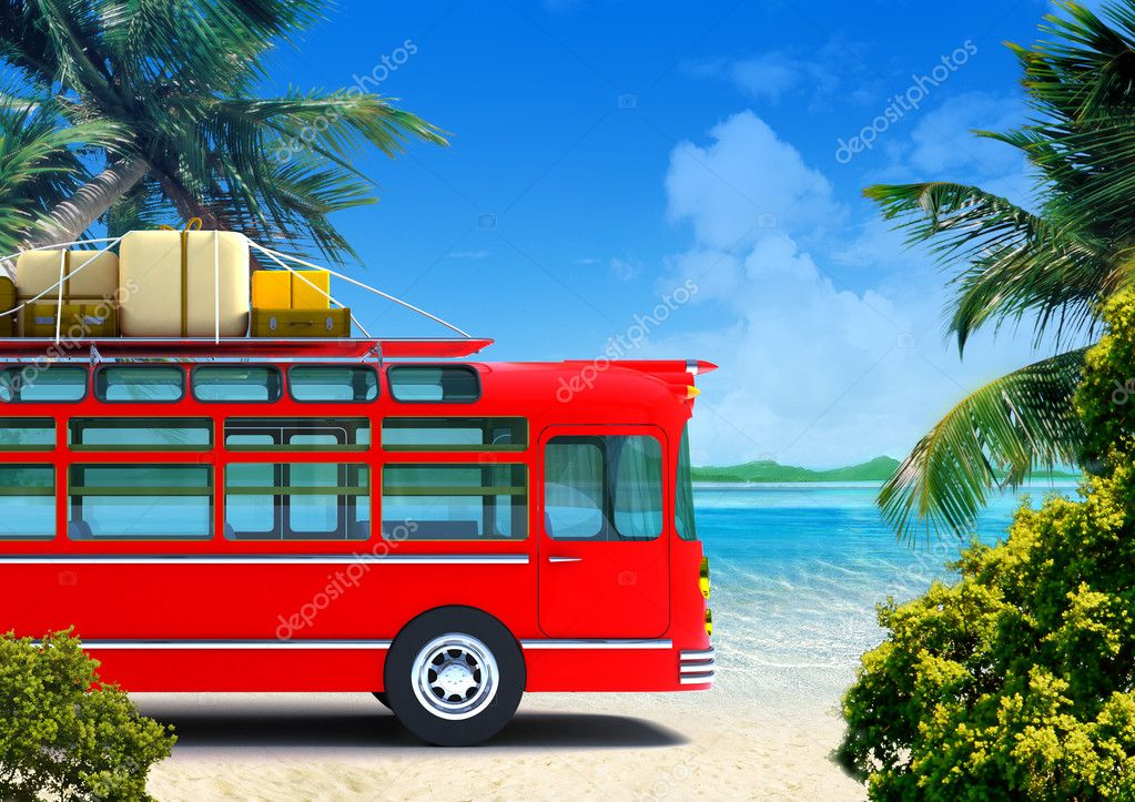 Red retro bus against the backdrop of beach  Stock Photo #6833693