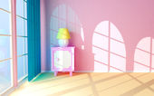Pink nightstand at the window — Stock Photo