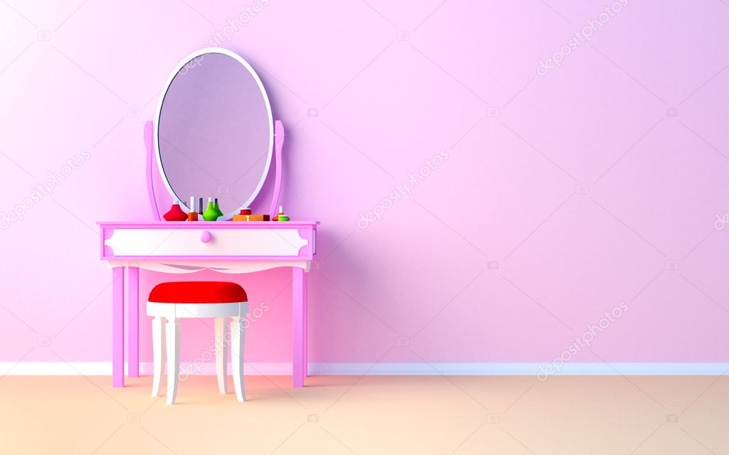 Pink make up table at the wall in the girl's room. — Stock Photo #7514297