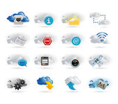 Cloud network icon set — Stock Vector