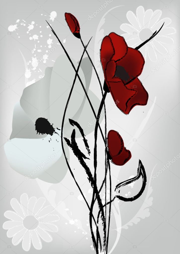Poppies artistic vector  Stock Vector #6920479