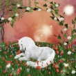 Unicorn in enchanted meadow — 图库照片 #7184247