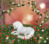 Unicorn in an enchanted meadow — Stock Photo