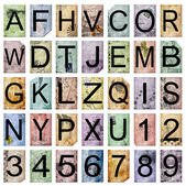Vintage alphabet and numbers — Stock Photo