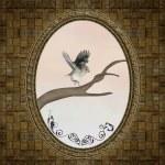 Beautiful frame with romantic illustration — Stock Photo