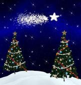 Christmas trees and comet — Stock Photo